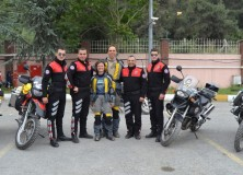 Group picture with the motorcycle police of Istanbul