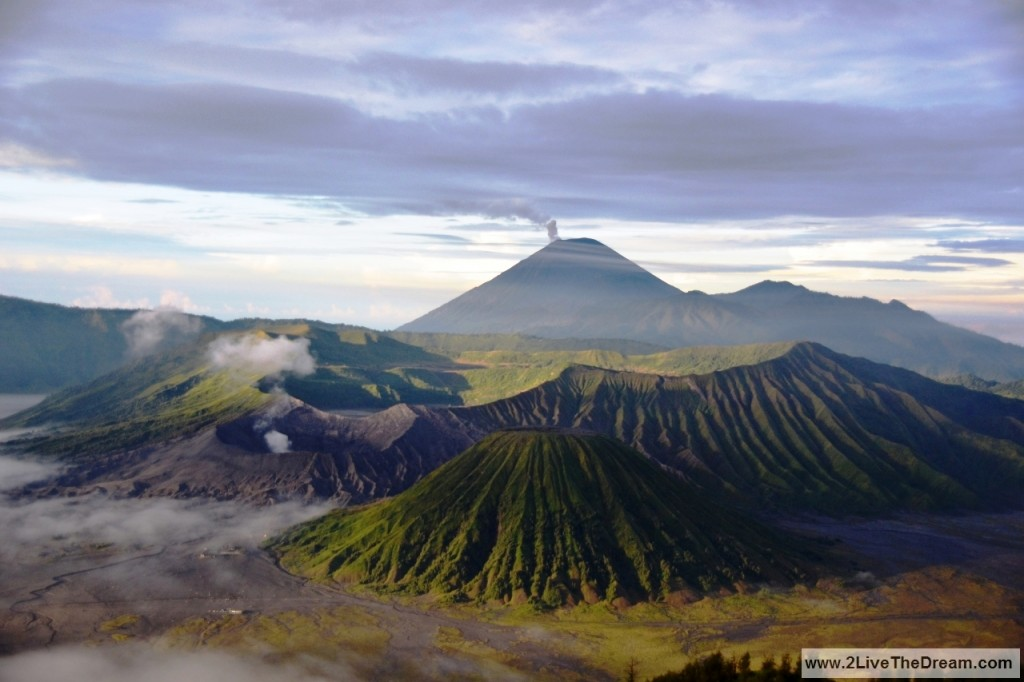 Tengger crater and Mt. Bromo - smoking Mt. Semeru in the back