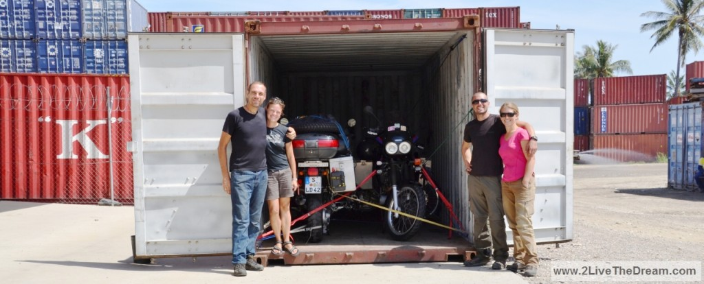 with Lea & Julien and all motorcycles in the container