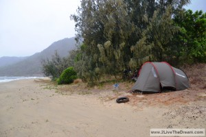Bad weather whilst camping on the beach